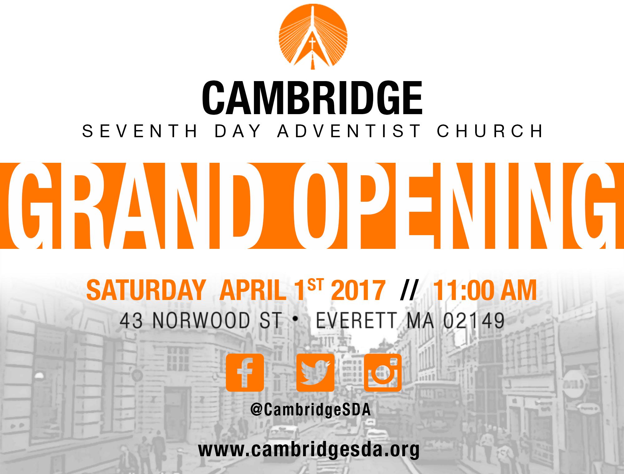 grand opening month � cambridge seventhday adventist church